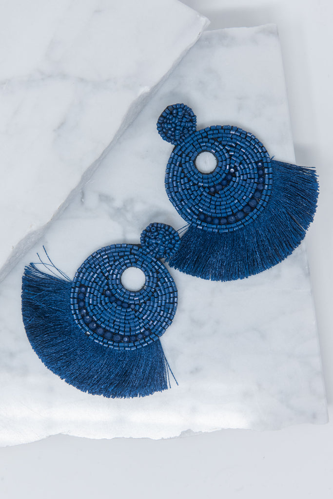 blue, earrings, beaded, fringe, trendy, fall, navy, solid, jewelry, accessories, everyday, date night