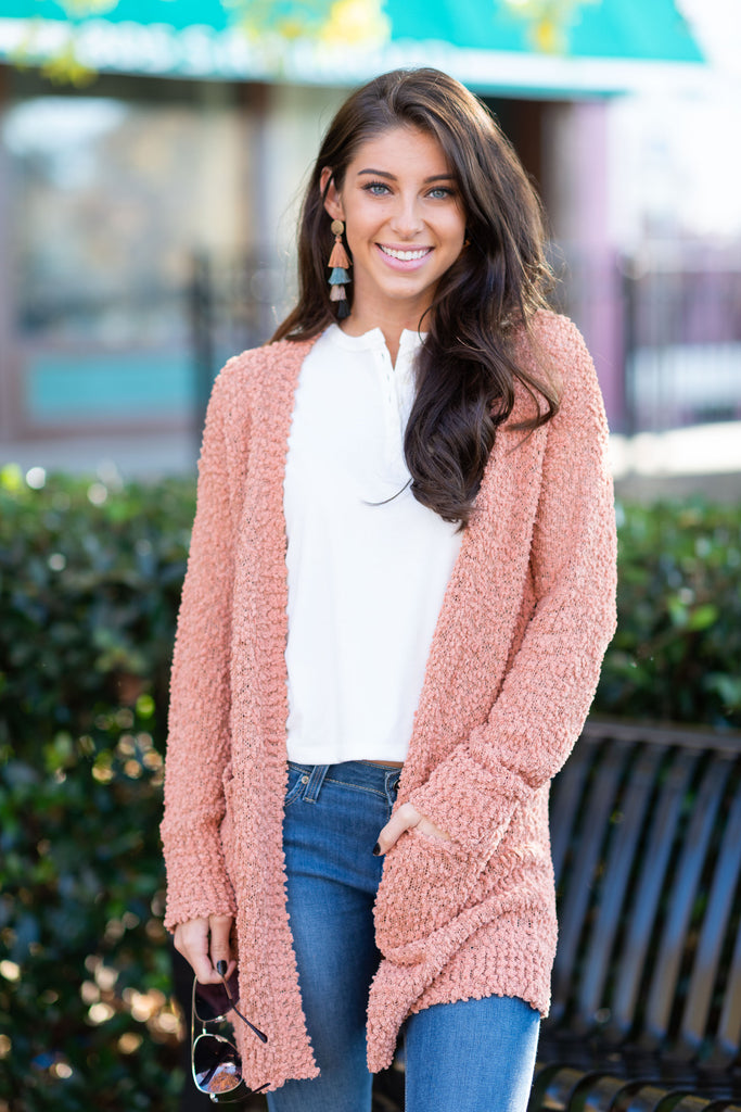 cardigan, red, long sleeve, casual, solid, pockets, pink
