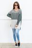 top, tunic, long sleeve, fall, winter, stripes, striped, black, trendy, white, gray, neutral, tee, conservative