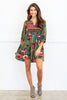 dress, casual, fall, winter, 3/4 sleeves, short, above knee, green, multi, multicolored, floral, flowers, mid thigh