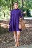 dress, conservative, fall, winter, short, above knee, purple, eggplant, casual, solid, high neck, long sleeve