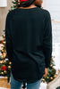 black tunic, tunic, round neckline, long sleeves, sassy graphic, curved hem, casual, comfy, generous tunic, festive
