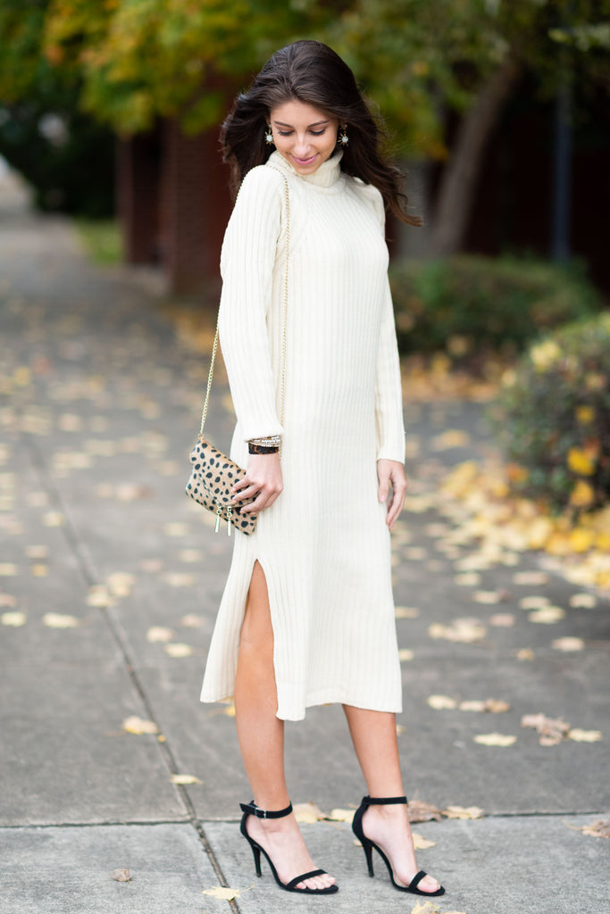 dress, sweater, sweater dress, long sleeve, mid calf, slit, turtleneck, midi, solid, white, trendy, cream, shopping, everyday, solid, heavy, acrylic, no lining, neutral, solid