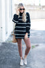 sweater, top, casual, cozy, long sleeve, stripes, striped, black, white, black and white stripes, high neck, cozy, warm, trendy, shopping, everyday, heavy, neutral