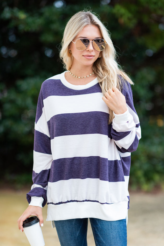 Always In Touch Purple Striped Top