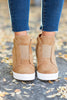 sneakers, wedge sneakers, side zip closure, wedge heel, solid coloring, camel