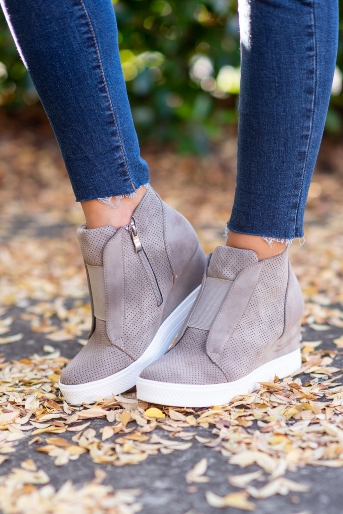 shoes, sneakers, taupe, brown, closed toe, slip on, solid, heel, wedge, zipper, trendy, shopping, everyday, neutral