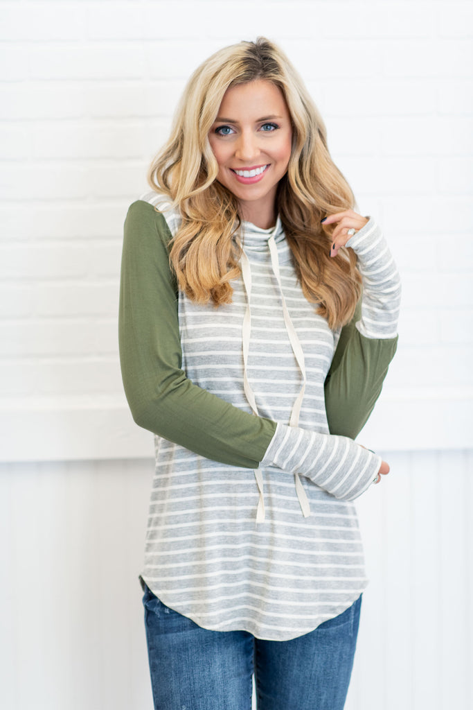 Steal Your Love Top, Heather Gray-Olive