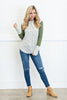 top, casual, tee, fall, winter, long sleeve, hood, hoodie, drawstring, stripes, striped, solid sleeves, green, gray, gray and green stripes, flowy, conservative, shopping, everyday