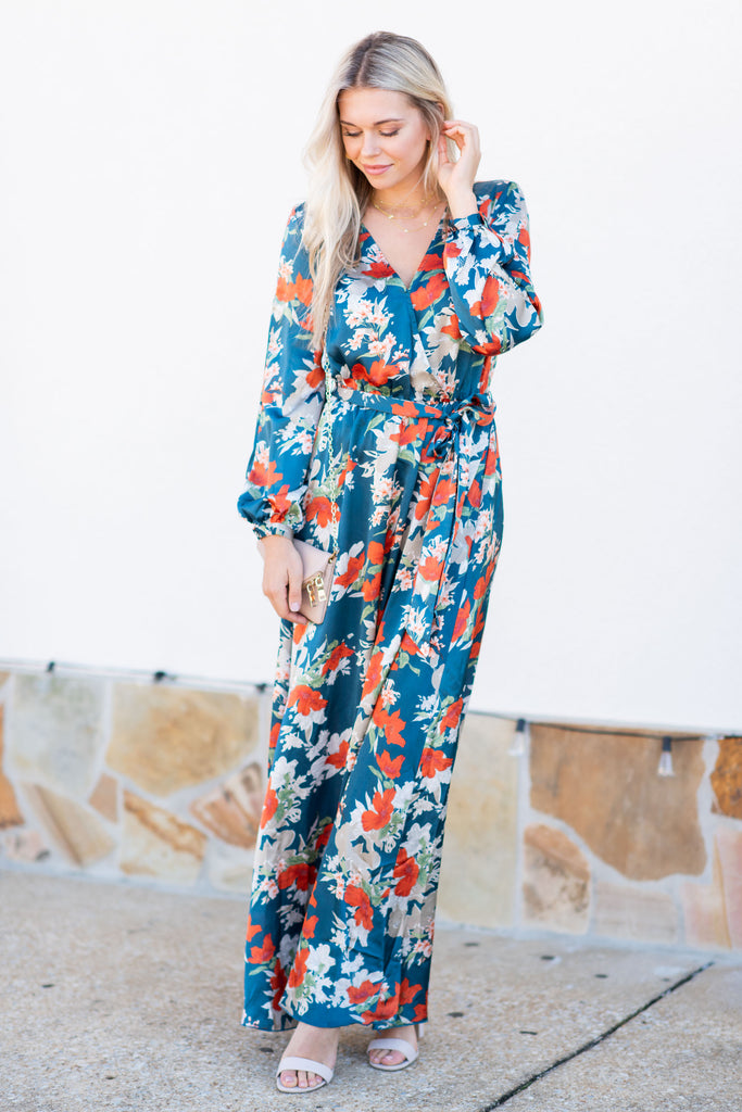 c82a64d52251 Long Sleeve Floral Maxi Dress, Teal – The Mint Julep Boutique
