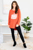 fall, tunic, graphic tunic, fall tunic, round neckline, long sleeves, curved hem, generous stretch, orange, orange tunic, orange graphic tunic