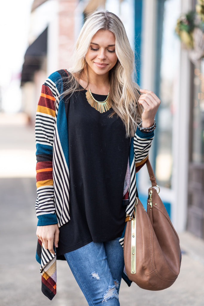 cardigan, striped, yellow, multicolored, long sleeve, winter, layers