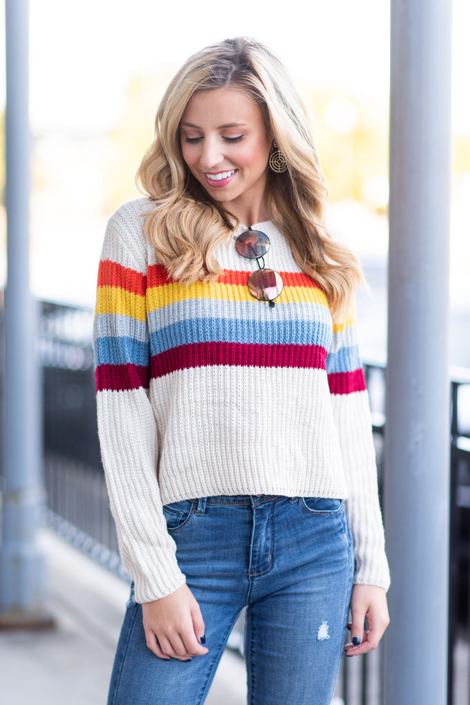 Better Than Before Sweater, Ivory-Rainbow