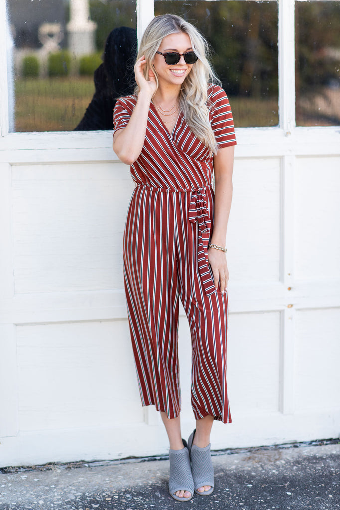 jumpsuit, bottoms, pants, long, fall, winter, gameday, comfy, cute, short sleeve, v neck, tie waist, stripes, stripes, orange, trendy, rust, date night, light, neutral, tie