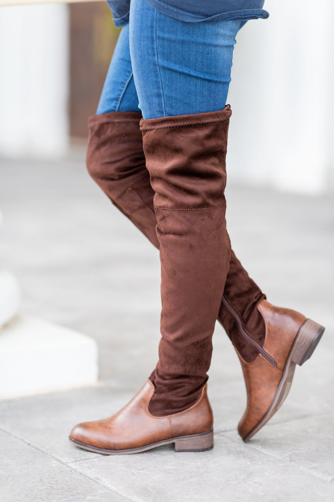 shoes, boots, fall, winter, over the knee, brown, solid, shopping, everyday, slip on, neutral