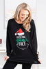 tunic, black tunic, black, round neckline, long sleeves, sassy holiday graphic, curved hem, grinch