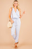 sleeveless jumpsuit, jumpsuit, chambray, blue,surplice v-neckline, elastic drawstring waist,