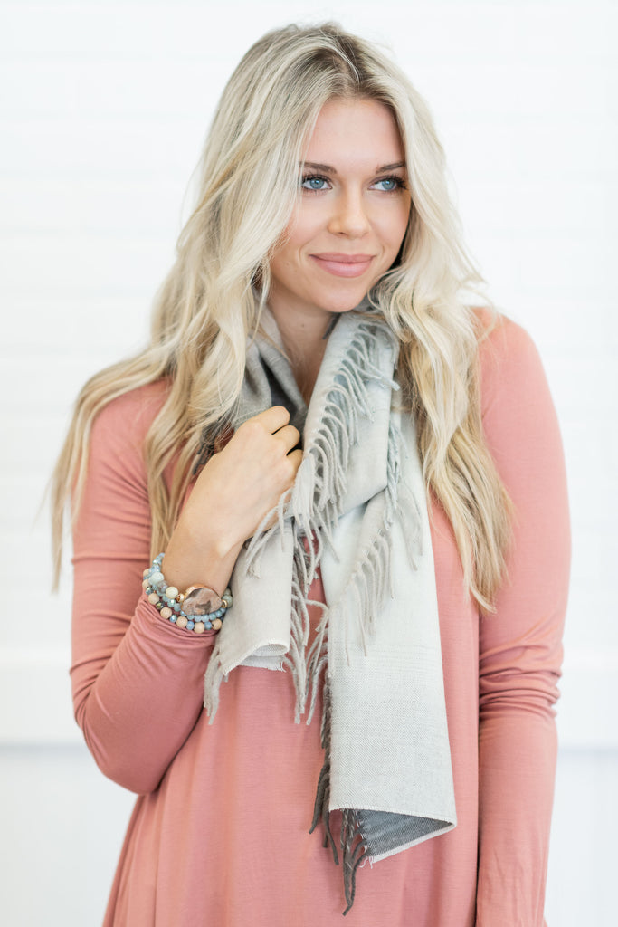 scarf, gray, white, cream, fringe, fall, winter, soft, stylish, trendy, neck wear, wrap, neutral, natural, plaid, patterned, cotton, shopping, everyday
