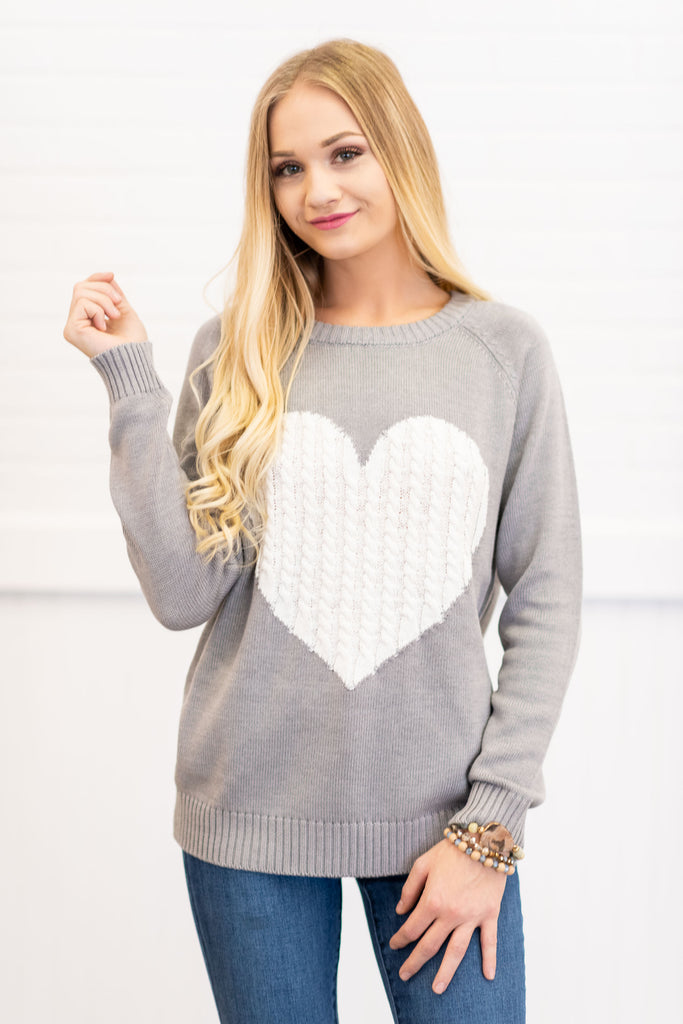 You've Got A Big Heart Sweater, Gray-Ivory