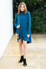 dress, long sleeve, casual, christmas, holidays, short, above knee, flowy, solid, blue, teal, fall, winter, trendy, shopping, everyday, light, bright, mid thigh, high neck, warm