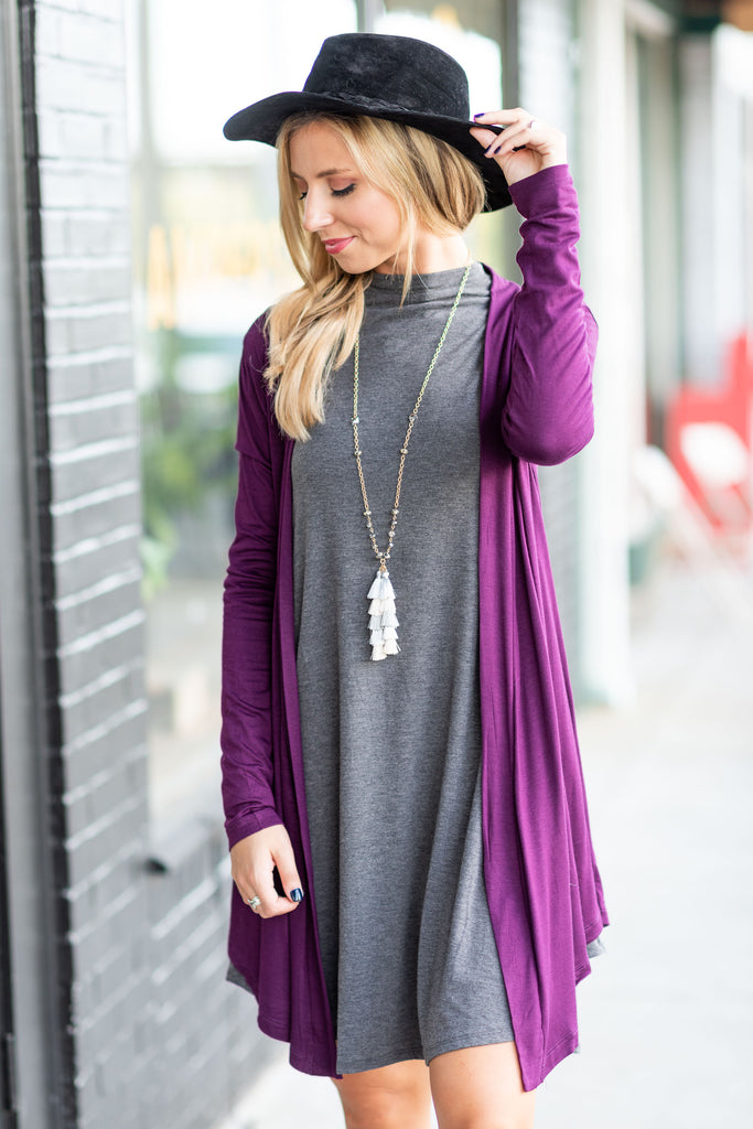 What An Easy Day Cardigan, Plum