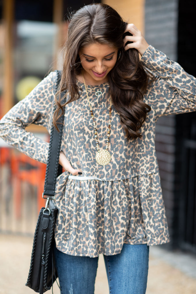 tunic, brown, leopard print, flowy, winter, long sleeve, casual