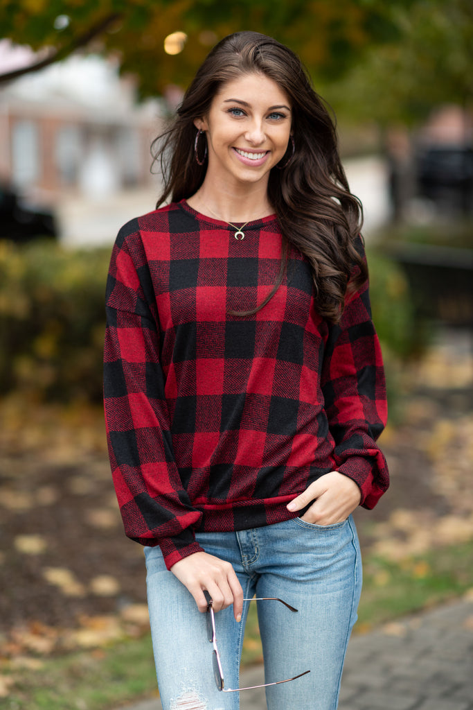 Casual Confidence Sweater, Red-Black
