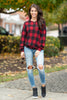 sweater, top, casual, plaid, checkered, red, black, long sleeve, fall, winter, cozy, light sweaters, christmas, holidays, trendy, conservative, shopping, everyday, round neckline, light, spandex, polyester, no lining, bright