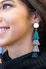 earrings, tassel, multicolored, blue, gray, black, long