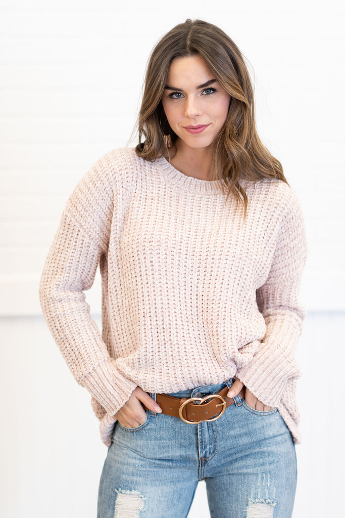 chenille sweater, chenille, sweater, long sleeves, round neckline, knit fabric, soft, white