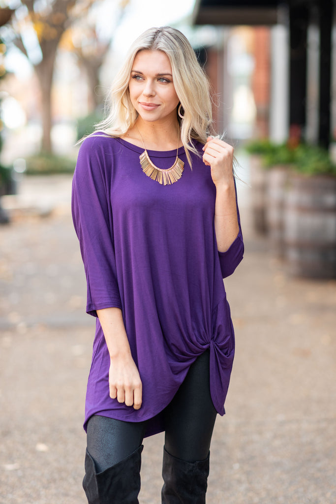 top, purple, solid, long sleeve, winter, casual, plain, twisted