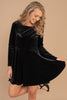 velvet fabric, long sleeves, round neckline, fit and flare silhouette