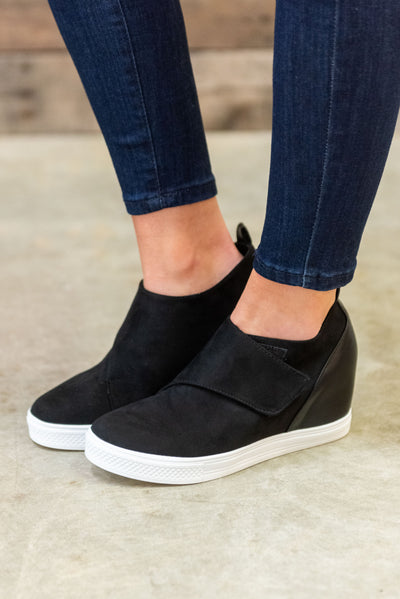 3cf5117140c7 Known To Be Sassy Wedge Sneakers, Black
