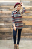 sweater, top, casual, cozy, long sleeve, fall, winter, stripes, striped, colorblock, cozy, light, trendy, conservative, 3/4 sleeve, multi, multicolored, orange, gray, shopping, everyday, cowl neckline, light, neutral