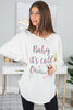 ivory graphic tunic, tunic, round neckline, long sleeves, curved hemline, holiday graphic, cozy, casual