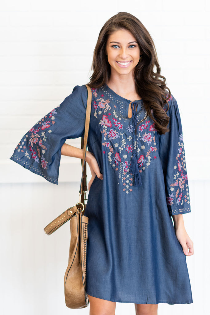 Appeal To Your Senses Dress, Dark Chambray