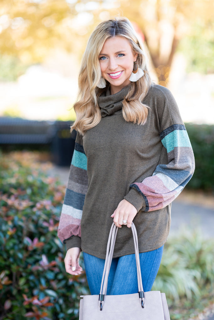 top, brown, solid, striped sleeves, multicolored, cowl neck, winter