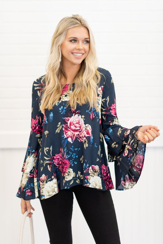 Just Be Fabulous Top, Navy-Fuchsia