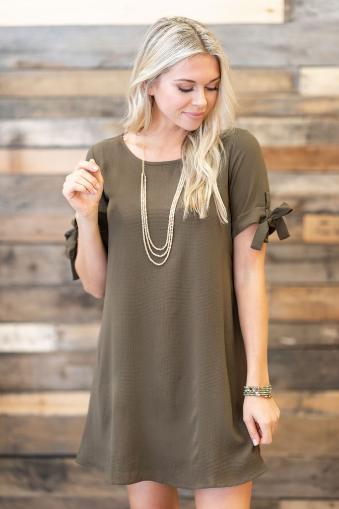You Make Me Smile Dress, Olive