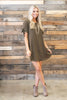 dress, casual, formal, fall, winter, short sleeve, short, above knee, mid thigh, solid, green, olive, tie, flowy, conservative, trendy, shopping, everyday, scoop neckline, light, spandex, polyester, fully lined, flowy, button