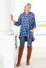top, casual, fall, winter, long sleeve, 3/4 sleeve, button down, v neck, plaid, checkered, high low, trendy, conservative, blue, shopping, everyday, light, neutral, polyester, cotton