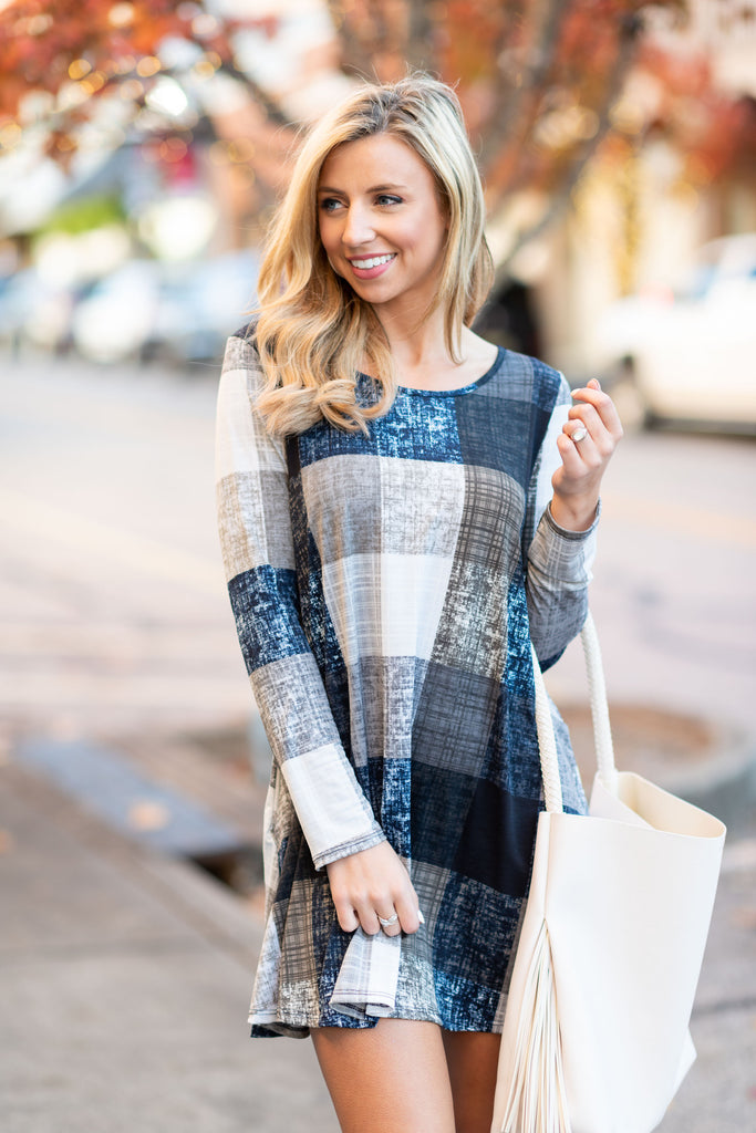 dress, short, long sleeve, plaid, blue, winter, checkered