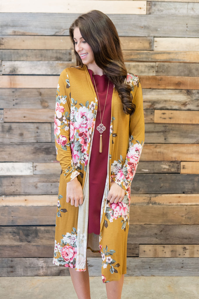 kimono, yellow, long, floral, flowers, long sleeve, layers, winter