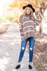 sweater, brown, casual, long sleeve, winter, stripes