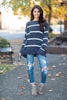 sweater, top, casual, cozy, long sleeve, stripes, striped, gray, white, comfy, light, trendy, shopping, everyday, round neckline, light, neutral