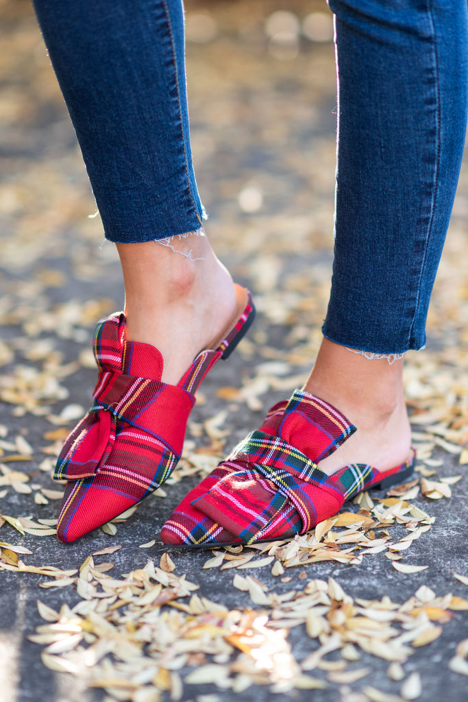 shoes, flats, close toed, fall, winter, red, plaid, christmas, holidays, pointy, bow, slip on