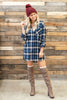 dress, casual, fall, winter, long sleeve, 3/4 sleeve, plaid, checkered, short, above knee, mid thigh, trendy, navy, blue, everyday, collared, light, cotton, no lining, neutral, button down, buttons, flowy
