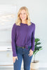 top, long sleeve top, solid long sleeve top, purple top, purple long sleeve top, solid purple long sleeve top, generous fitting long sleeve top, casual long sleeve top,