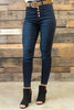 Bold Buttons Skinny Jeans, Dark Denim