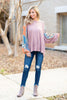 top, pink, long sleeve, cute, work, winter, solid, printed sleeves